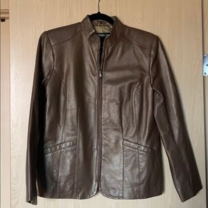 Style and Co Petite Genuine Leather Coat